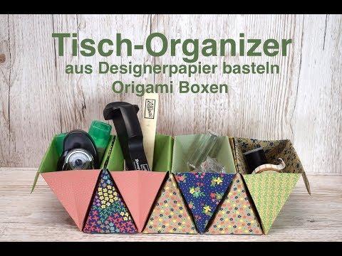 🖌✂️ 📎Tisch-Organizer basteln aus Designerpapier von Stampin' Up! Origami Boxen