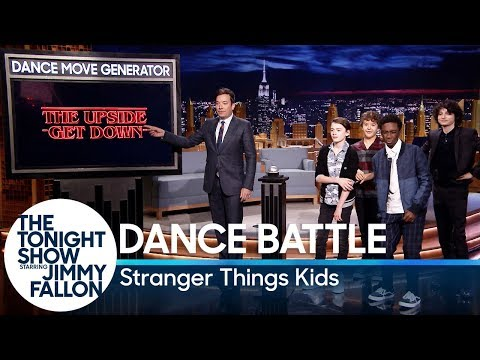 Stranger Things stars Finn Wolfhard, Gaten Matarazzo, Caleb McLaughlin and Noah Schnapp have a dance battle. Subscribe NOW to The Tonight Show ...