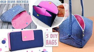 5 ADORABLE DIY JEANS BAG IDEAS FROM OLD JEANS // Purse Bag Jeans Transform