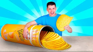 Giant DIY Foods Challenge / We Made Giant Pringle's
