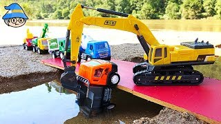 Find car toys Construction truck under in water. excavator bridge toy.