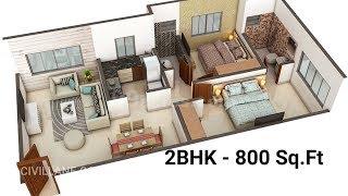 2BHK House Interior Design - 800 Sq Ft By CivilLane.com