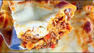Lasagna with Bechamel Sauce  Easy Homemade No Boil Lasagna with Cheese Sauce