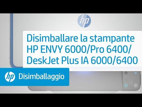 Disimballaggio della stampante delle serie HP ENVY 6000/ENVY Pro 6400/DeskJet Plus Ink Advantage 6000/6400