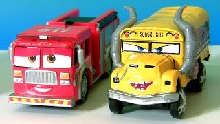 Disney Cars 3 Miss Fritter School Bus | CARS 3 Tiny Lugsworth Fire Truck Red | CARS 3 Mack Semi