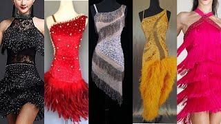 Professional Stylish Latin Dance Sleeveless Outfits Ideas Tassels Beading Dress Salsa Dance Outfits