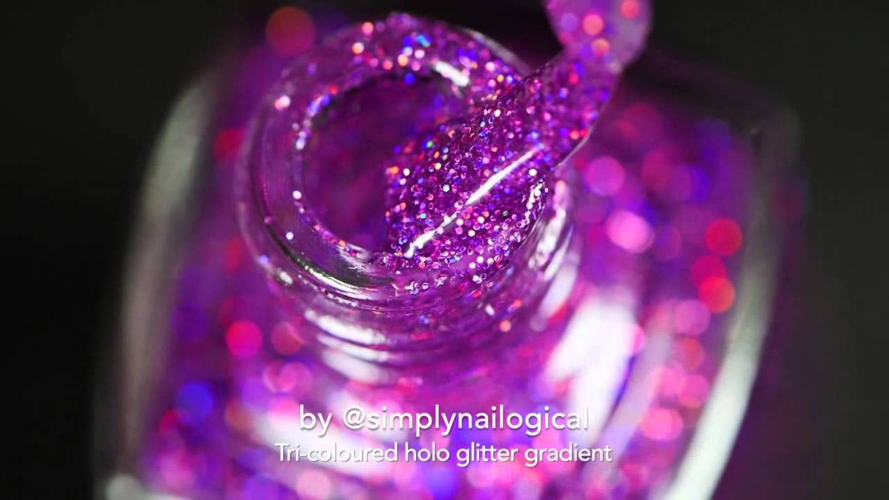 Tri-coloured holo glitter gradient nail art with easy gradient clean up thumbnail