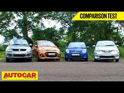 Hyundai Grand i10 Vs Toyota Liva Vs Maruti Swift Vs Ford Figo | Comparison Test -  Maruti Videos