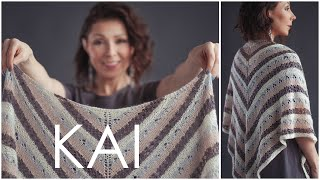 Kai - Easy Beginner Lace Triangle Shawl Pattern - How To Knit Lace!