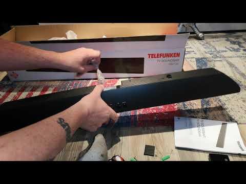 Unboxing Telefunken SB100 2.1 TV-Soundbar (40 Watt (RMS), AUX-In, Line-In, Wandmontage-Zubehör)