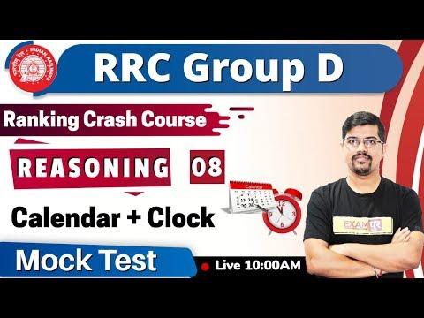CLASS -08| Ranking Crash Course || RRC Group D || REASONING || By Vinay Sir || Calendar + Clock