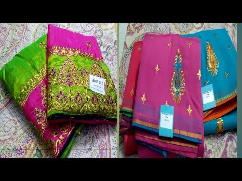 Sana silk  collection /Fancy  Cotton sarees with Embroidery blouse/Free shipping /Thirumathi Raji