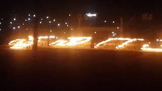 Pattern making at World Famous Banimantap Torchlight Parade at Mysuru Dussehra 2017, Mysuru, India