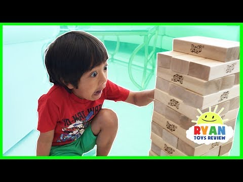GIANT JENGA CHALLENGE! Parent vs Kid Family Fun Game for Kids Playtime with Angry Bird Knockout