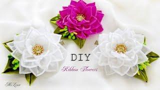 ЗАЖИМЫ С ЦВЕТАМИ, МК / DIY KANZASHI FLOWERS HAIR CLIP