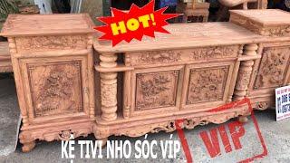 SIÊU VIP: Kệ Tivi Cột Nho Gỗ Hương Đá 2m37. Cánh 3cm,khung cánh 4,5cm,đục trạm thủ công.ĐồGỗBảoLộc
