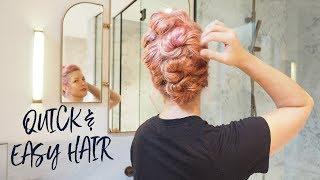 Fast Hairstyle Tutorial For Messy Hair - Twist & Pin Bun-Hawk