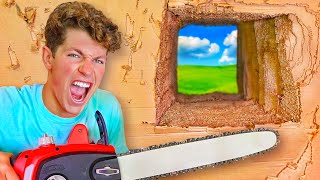 ESCAPING 100 LAYERS Of CARDBOARD! Trapped inside!