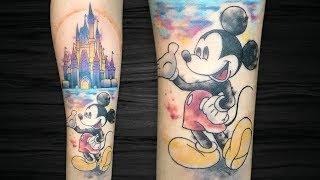 MICKEY E CASTELO DA DISNEY - Aquarela | Watercolor - Tatua E Fala | Tattoo Time Lapse #158