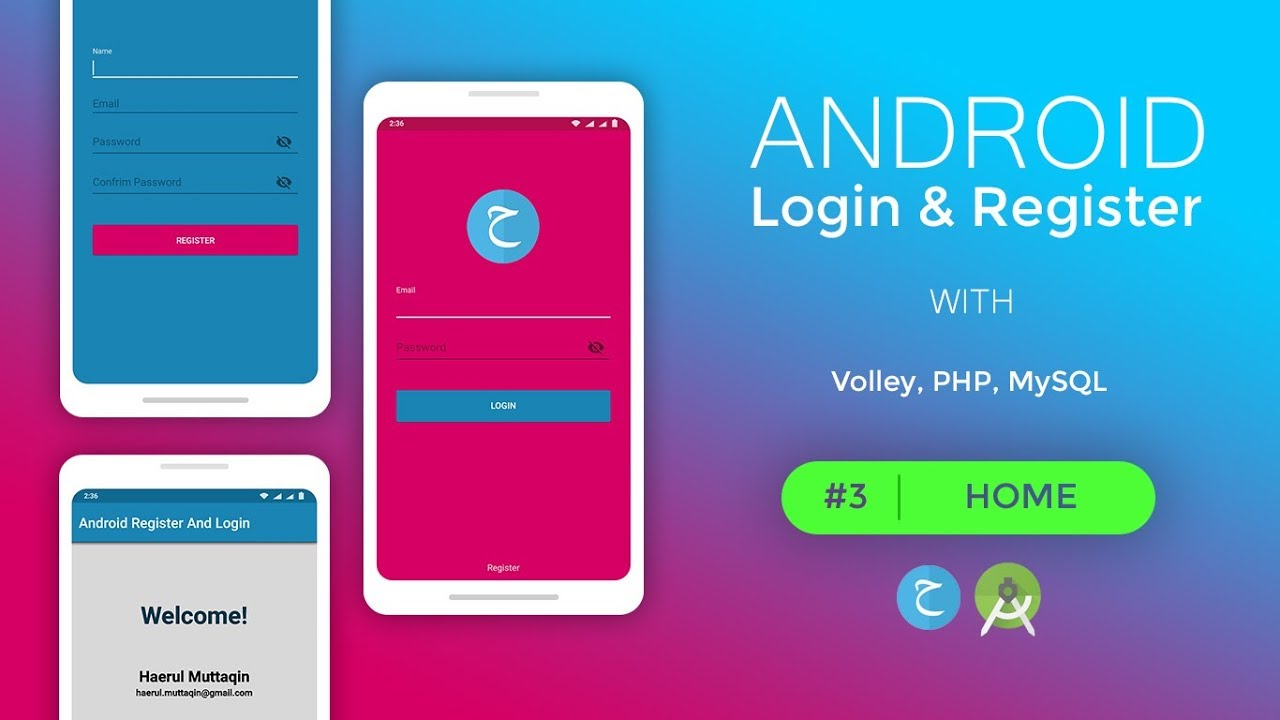 HOME - Android Login And Register   PART 3   (Volley, PHP, MySQL) Screenshot Download
