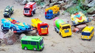 Fire Truck Crane Truck & Tayo Bus rescues Racing Car Truck Toys | Excavator Dump Truck Construction