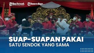 Viral Video Suap-suapan Makanan dari Satu Sendok saat Acara Potong Tumpeng PDI Perjuangan di Bali