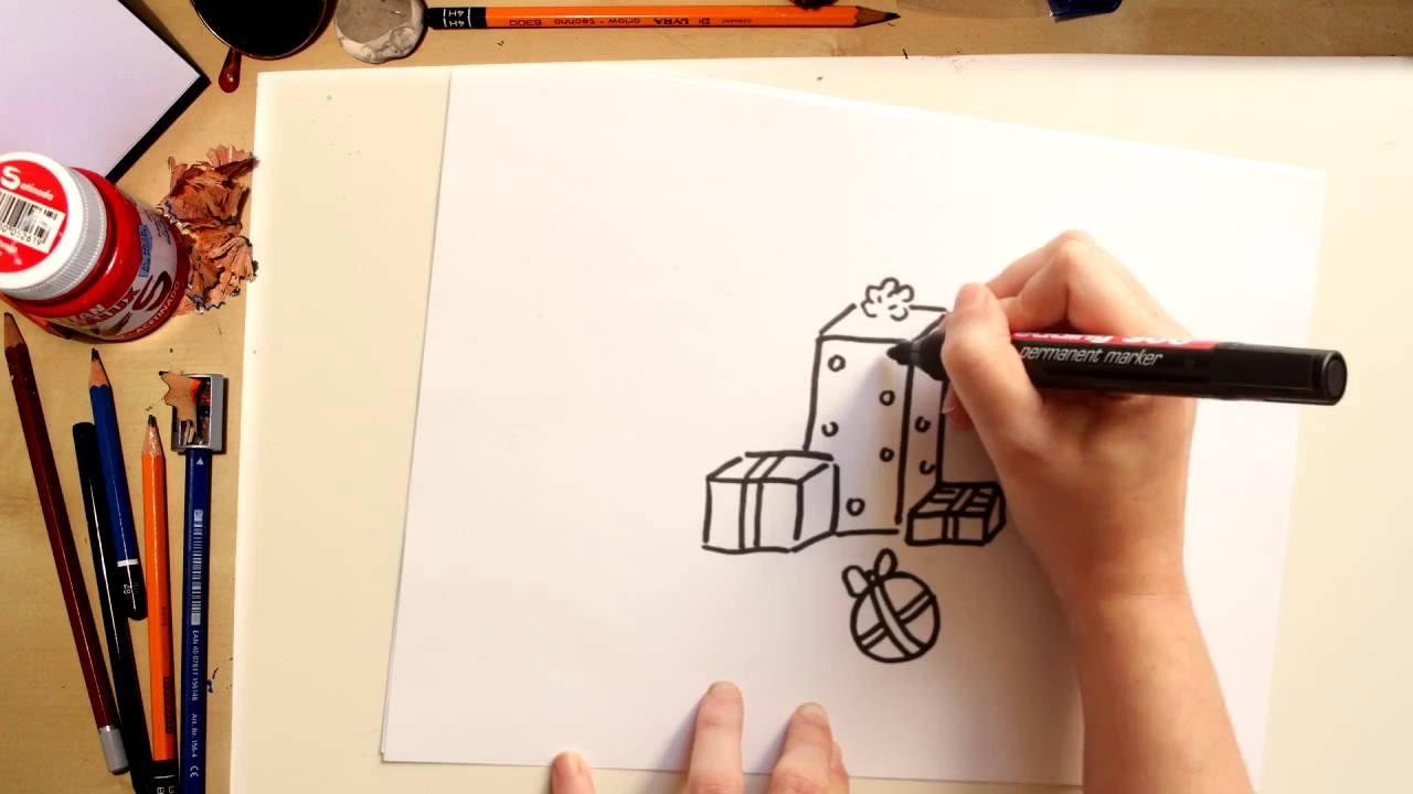 Como desenhar Presentes para o Natal - desenhos de Natal para crianças