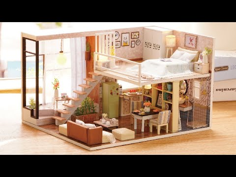 DIY Miniature Dollhouse Kit || Dream House ( with full furniture and light )