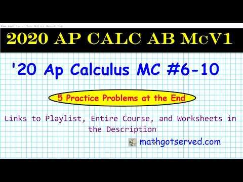 2020 Ap Calculus AB Multiple Choice Practice Vol 1 # 6 10 Pass Ap ...