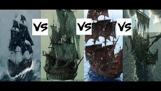 Black Pearl VS Flying Dutchman VS Queen Anne's Revenge VS Silent Mary-(POTC:Battle of the ships.)