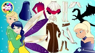 Paper Dolls Ladybug and Cat Noir pretend Play Costumes for Frozen Cartoons & Crafts
