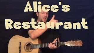 Alice's Restaurant (Arlo Gutherie) Strum Fingerstyle Guitar Lesson How to Play Tutorial