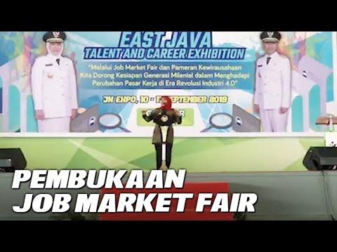 Gubernur Jatim, Khofifah Indar Parawansa membuka Job Market Fair 2019