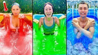 ONE COLORED SLIME POOL CHALLENGE!!