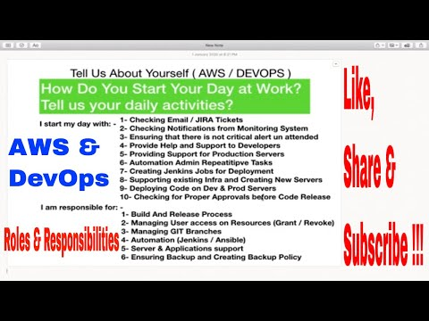 How to tell about your job role and responsibility AWS and DevOps with Answers