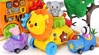 Let's go to the Amusement Park on the Animal Train with the Baby Shark, Pinkfong!   PinkyPopTOY