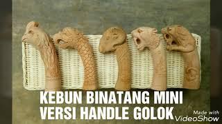 Kebun Binatang Mini Versi Handle Golok,  Ayam,  Garuda,  Domba,  Macan  Dan Singa,  Bahan Kayu