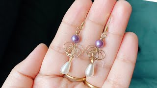 Diy Earrings/how To Make Simple Wire Wrapped Pearl Drop Earrings/simple Wire Jewelry For Beginners