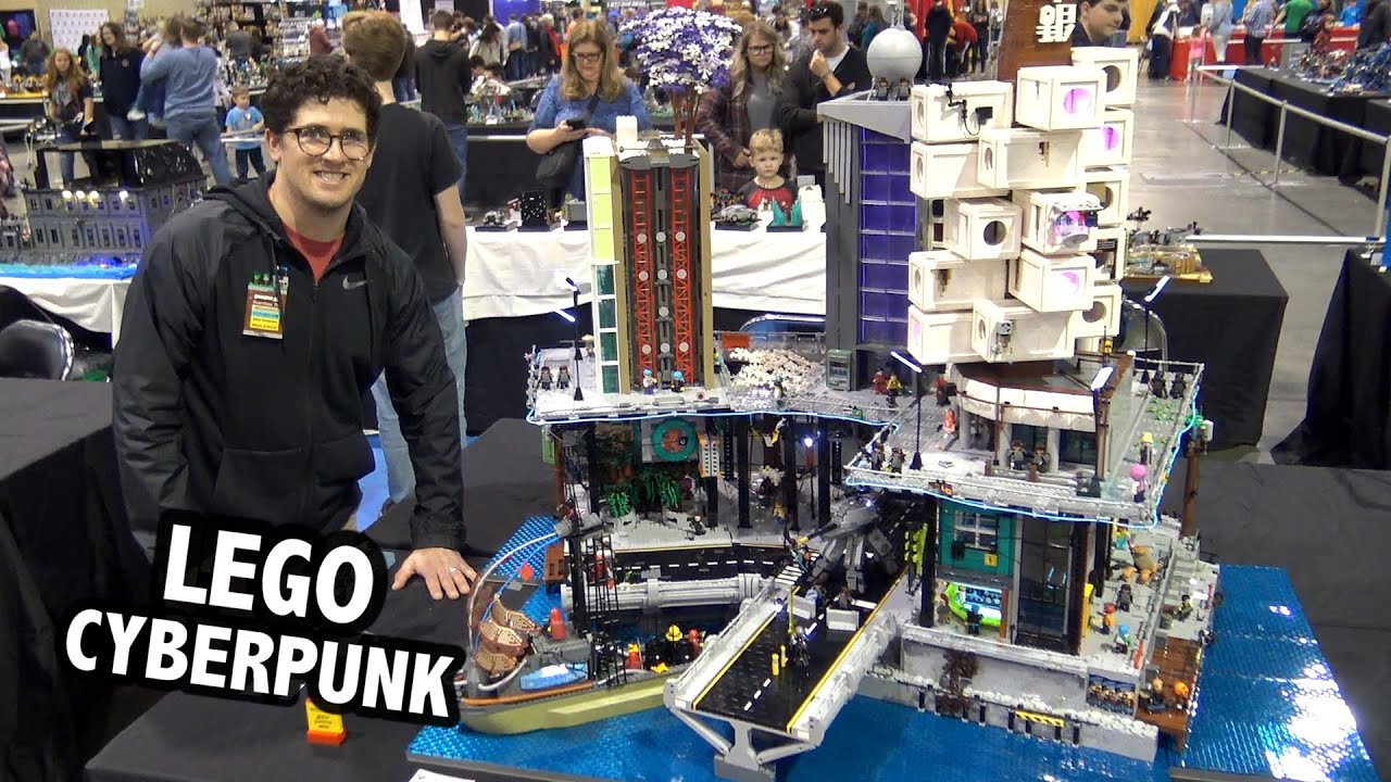 Giant LEGO Cyberpunk City with Lights | BrickFair Alabama 2020