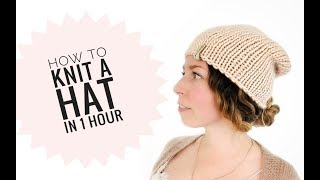 Free knitted hat patterns on circular needles // Super Easy Knit hat tutorial
