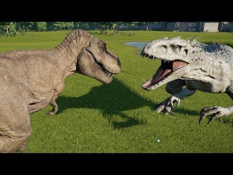 indominus rex modified vs t rex spinosaurus giganotosaurus