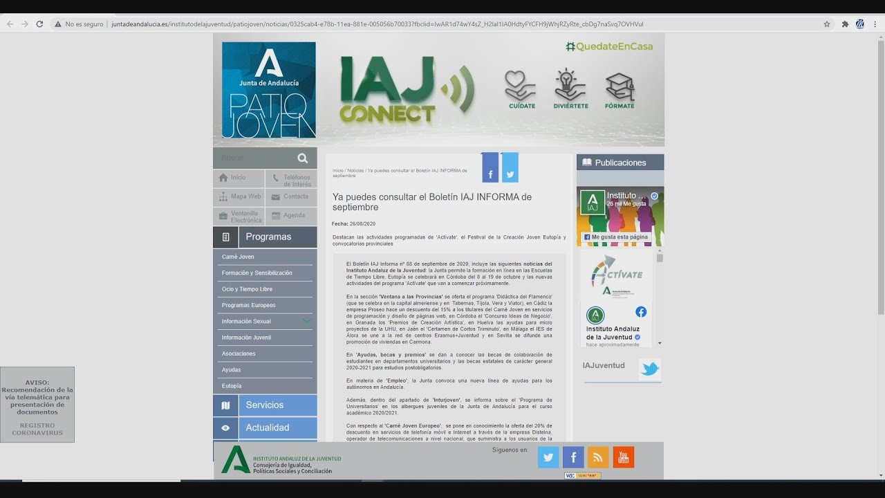 """Boletín de información juvenil """"IAJ Informa"""""""
