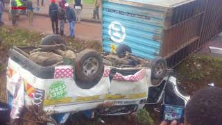 The situation at Waiyaki Way as a trailer topples over causing a huge accident