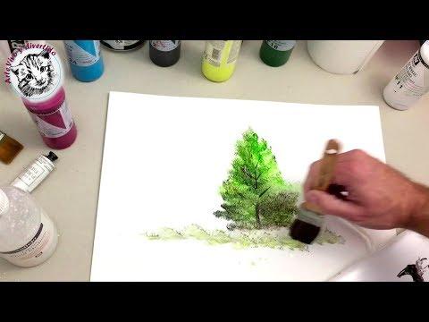Como Pintar con Acrilicos Paso a Paso 1 Materiales y Pintar un Arbol Facil