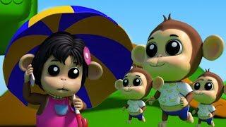 ห้าลิงน้อย กระโดดบทกวีสำหรับเด็ก เพลงสำหรับทารก เพลงกล่อมเด็ก Five Little Monkeys Kids Rhymes
