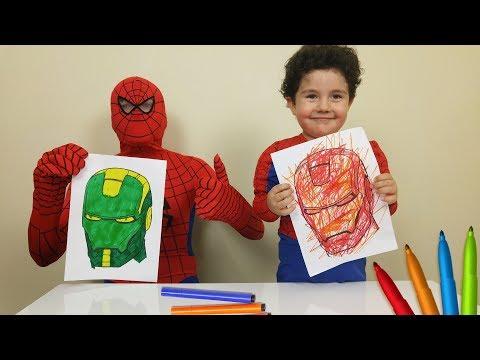 Superhero 3 Marker Challenge with Yusuf and Spiderman | Çocuk Oyun Videoları.