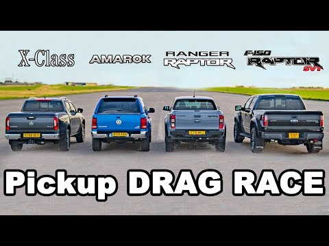 Ford F150 Raptor v Ranger Raptor v Mercedes X-Class v VW Amarok - DRAG RACE & ROLLING RACE