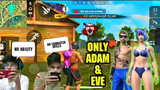 FREE FIRE || PLAYING WITH ADAM AND EVE IN RANK MATCH DUO VS SQUAD || LIVE GAMEPLAY