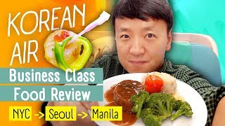 Korean Airlines Business Class FOOD REVIEW! WORST Food Menu New York to Manila