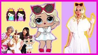LOL Surprise Dolls In Real Life Make Up + Dress Up Play at Pretend Toy Hair Salon